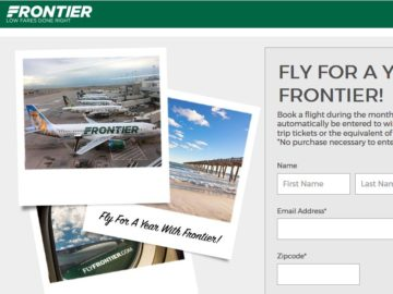 Frontier's Online and Social Free Flights for a Year for Two Sweepstakes