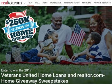 Veterans United Home Loans and Realtor.com Home Give-Away Sweepstakes – Veterans or Active Military