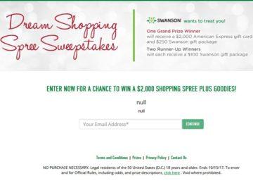Swanson Health Shopping Spree Sweepstakes