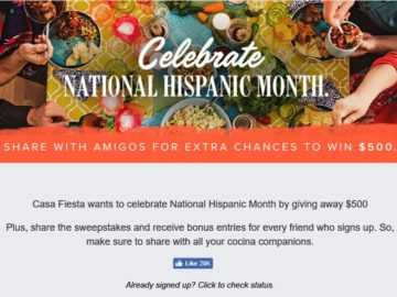 "Casa Fiesta ""Fiesta Five Hundred"" Sweepstakes – Facebook"