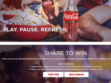 Coca-Cola PLAY. PAUSE. REFRESH. Phase 3 Sweepstakes – Twitter/Instagram