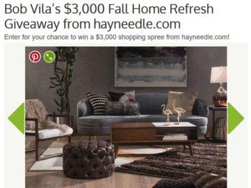 Bob Vila's $3,000 Fall Home Refresh Giveaway Sweepstakes