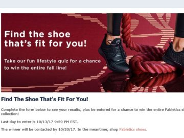 "Fabletics ""Find The Shoe That's Fit For You"" Sweepstakes"