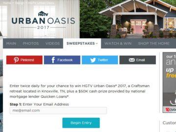 HGTV Urban Oasis 2017 Sweepstakes