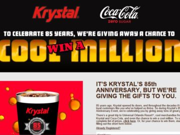 Krystal's 85th Birthday with Coke Zero Sugar Instant Win Game – Limited States