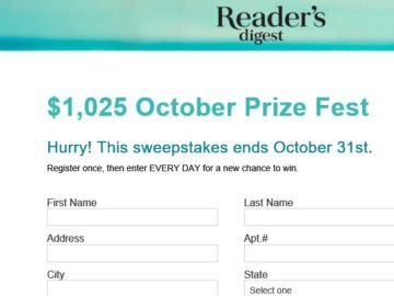 Reader's Digest October Prize Fest Sweepstakes