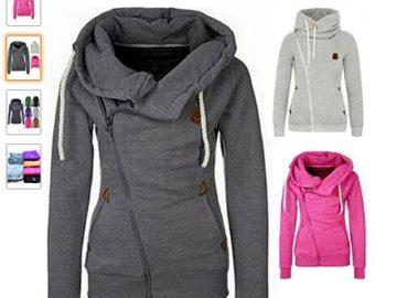 Win a Jeeluory Women's Fashion Side Zipper Patchwork Warm Hooded
