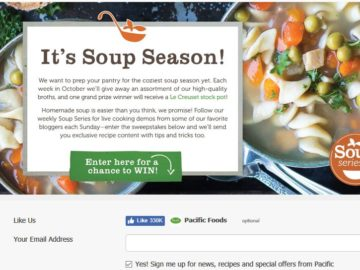 Pacific Food's 'Soup Series Sweepstakes – Facebook