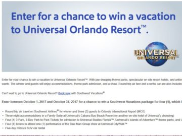 October Southwest Vacations Sweepstakes