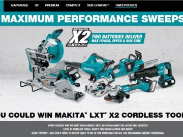 Makita U.S.A. X2 – Get Maximum Performance Sweepstakes