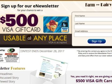 Farm and Dairy Gift Card Sweepstakes