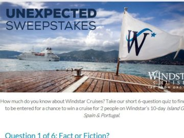 Windstar Cruises Unexpected Sweepstakes – Facebook