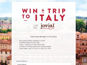 Jovial Foods Italy Sweepstakes