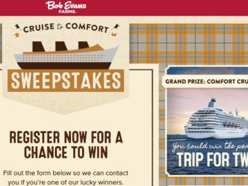 Bob Evans Farms Cruise to Comfort Sweepstakes and Instant Win Game