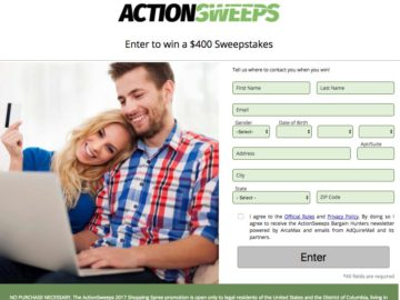 Action Sweeps – Win $400 to Amazon or BestBuy