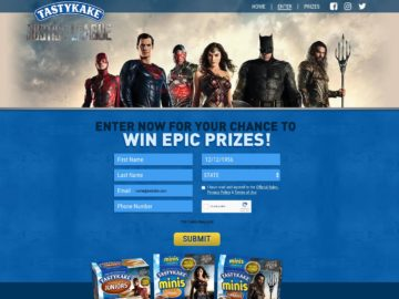 Tastykake and Justice	League Sweepstakes