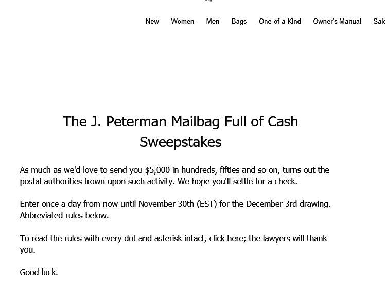 J Peterman 5000 Shopping Spree Sweepstakes