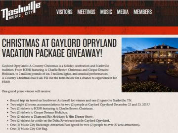 Gaylord Opryland's A Country Christmas Vacation Package Sweepstakes