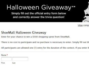 ShoeMall Halloween Giveaway Sweepstakes