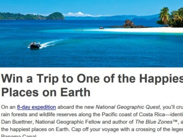National Geographic Expeditions Happiest Place Cover Giveaway Sweepstakes