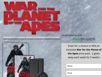 RAVPower and War For The Planet Of The Apes Sweepstakes