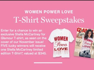 """Glamour's """"WOMEN POWER LOVE"""" T-Shirt Sweepstakes"""