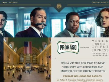 Proraso Murder on the Orient Express Mystery Sweepstakes
