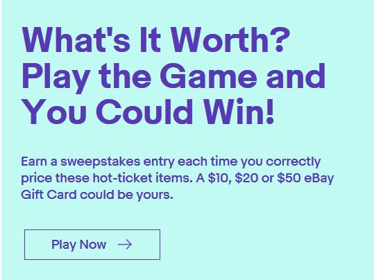Ebay What S It Worth Selling Game Sweepstakes