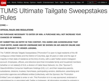 TUMS Ultimate Tailgate Sweepstakes – Twitter/Instagram