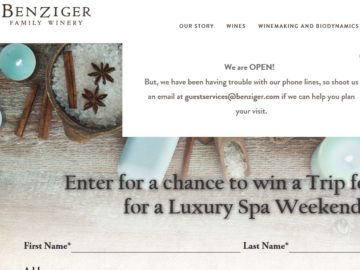 Benziger Family Winery Sonoma Spa Sweepstakes