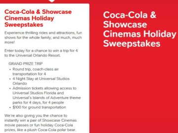 Coca-Cola and Showcase Cinemas Holiday Sweepstakes and Instant Win Game- Limited States