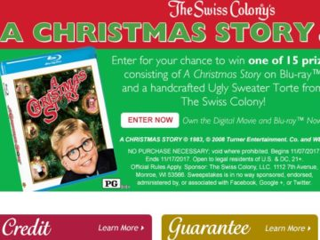 Swiss Colony's A Christmas Story Sweepstakes