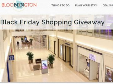 Bloomington Convention & Visitors Bureau's BLACK FRIDAY SHOPPING GIVEAWAY Sweepstakes