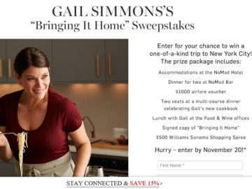 Gail Simmons's Bringing It Home to New York Sweepstakes