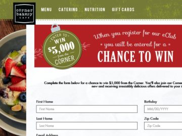 "Corner Bakery Cafe ""Holiday"" Sweepstakes"