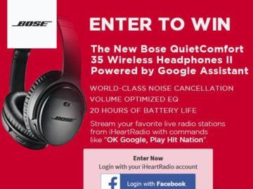 iHeartRadio & Bose QuietComfort 35 Wireless Headphones II Giveaway Sweepstakes