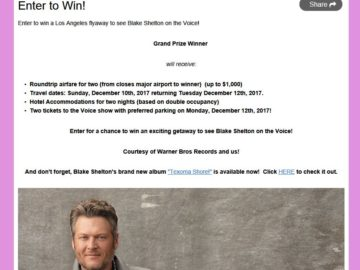 The Voice Flyaway Sweepstakes