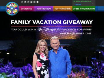 """Wheel of Fortune """"WALT DISNEY WORLD Resort Week"""" Sweepstakes"""
