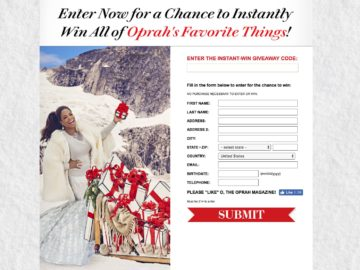 Oprah's Favorite Things 2017 Instant Win Sweepstakes