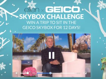 Win a trip to sit in Ellen's GEICO Skybox During 12 Days of Giveaways