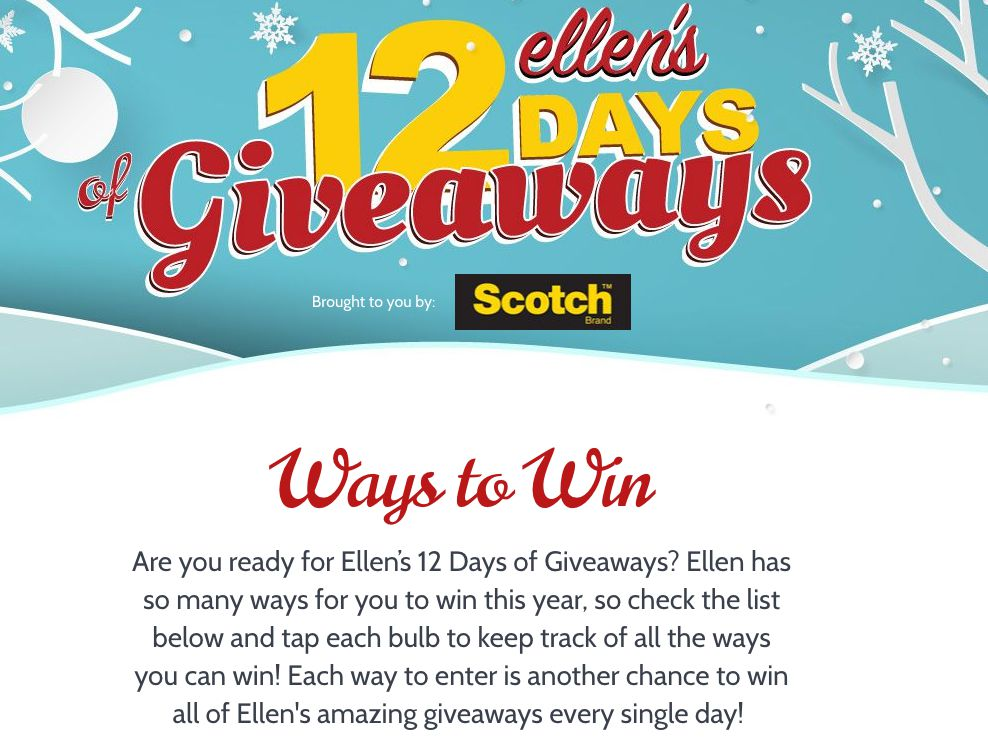 ENTER ELLENS 12 DAYS GIVEAWAYS