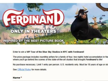 Books-A-Million's 'VIP Tour of the Blue Sky Studios in NYC with Ferdinand' Sweepstakes