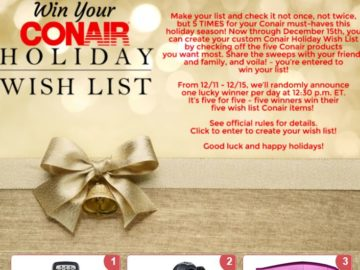 Conair Holiday Wish List Sweepstakes – Facebook