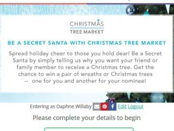 Christmas Tree Market Be a Secret Santa Sweepstakes – Facebook