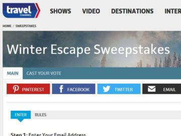 Travel Channel Winter Escape Getaway Sweepstakes