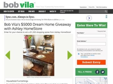 Bob Vila's $5000 Ashley HomeStore Giveaway
