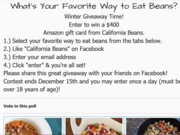 California Beans Sweepstakes – Facebook