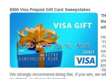 Win a $500 VISA Prepaid Gift Card