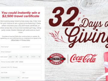 Boston Market 32 Days of Giving Instant Win Game