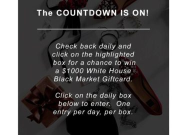 """WHBM's """"Twelve Days of Christmas Giveaway"""" Sweepstakes – Facebook"""